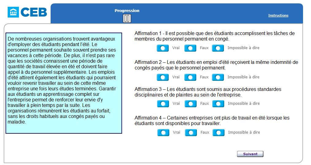 Exemple de question SHL dans les exercices de raisonnement verbal