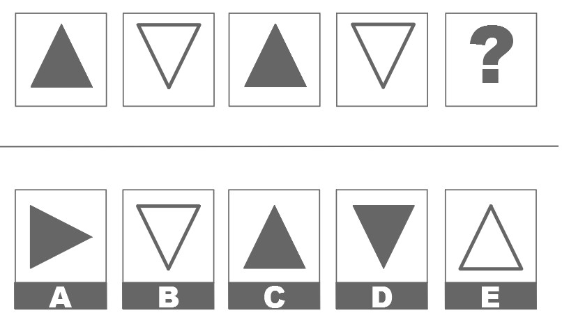 Exemple de test de raisonnement spatial du CCAT (suite logique)